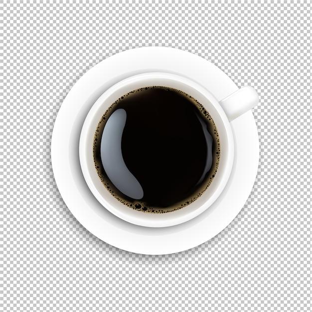 Tasse blanche café fond transparent Vecteur Premium
