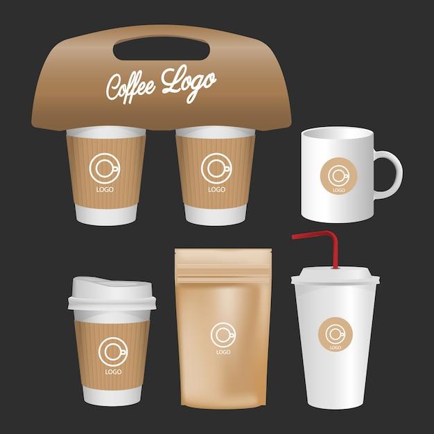 Tasse blanche, ensemble réaliste de tasse à café isolé sur fond blanc. Vecteur Premium