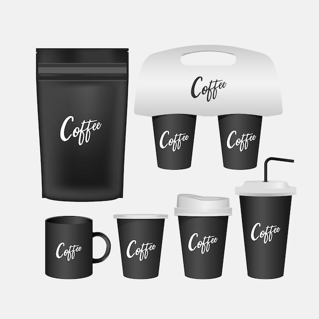 Tasse blanche, ensemble réaliste de tasse à café isolé. Vecteur Premium