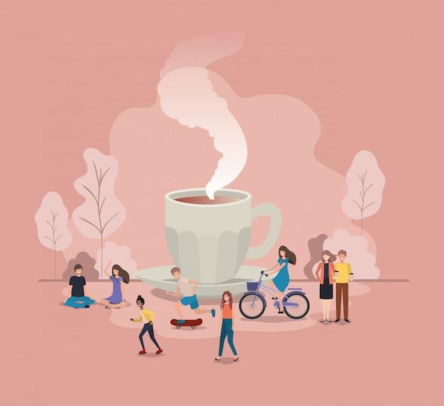 Tasse de café avec ampoule et mini personnes Vecteur Premium