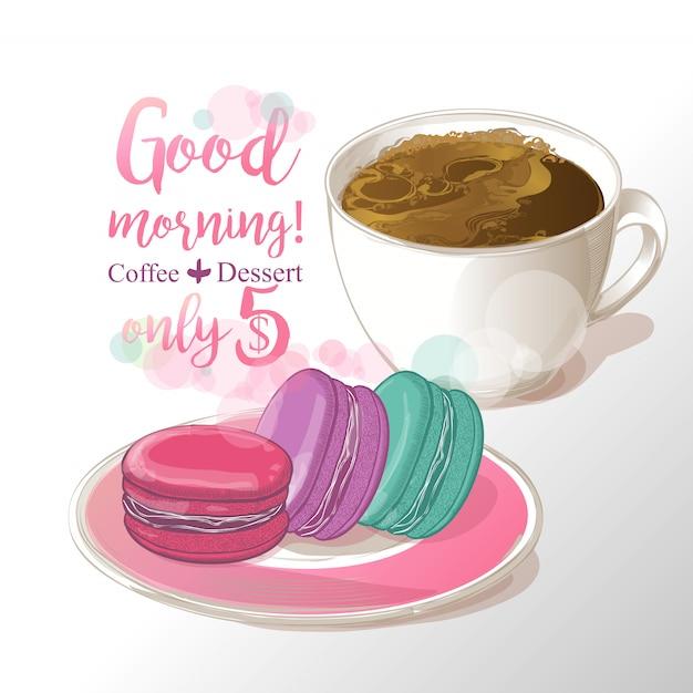 Tasse de café andmacaroons vector illustration Vecteur Premium