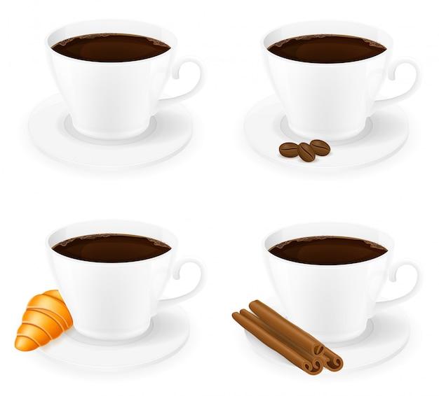 Tasse de café avec des bâtons de cannelle illustration vectorielle de grain et haricots vue de côté Vecteur Premium