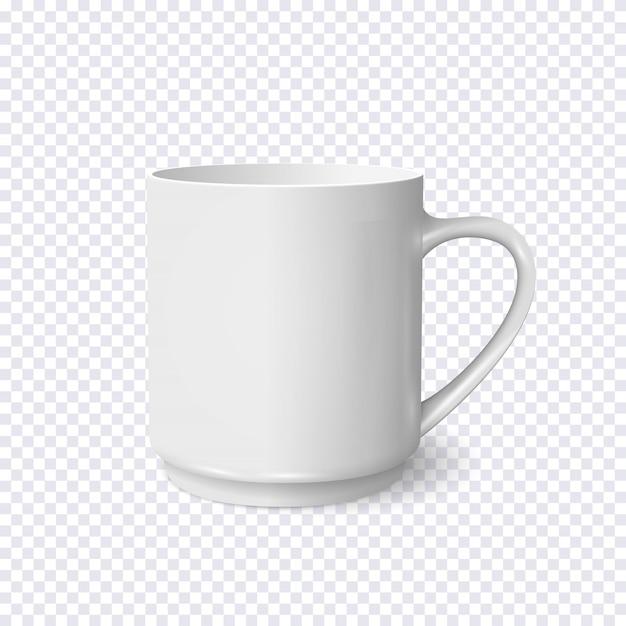 Tasse à café blanc réaliste isolé sur transparent Vecteur Premium