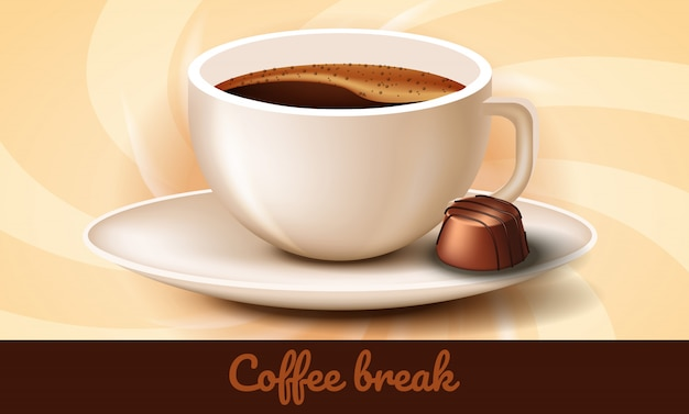 Tasse de café et des chocolats sur une soucoupe. pause café. Vecteur Premium