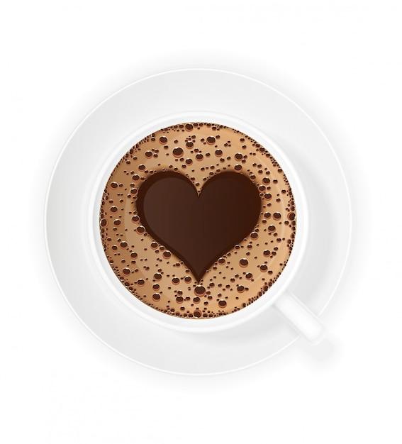 Tasse de café crème et symbole coeur Vecteur Premium