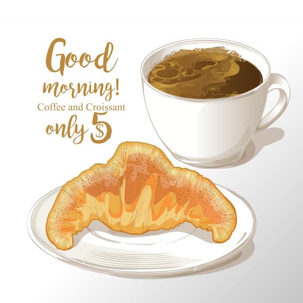 Tasse, café, croissant, illustration vectorielle Vecteur Premium