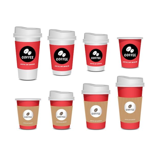 Tasse à café ensemble réaliste isolé sur fond blanc. Vecteur Premium