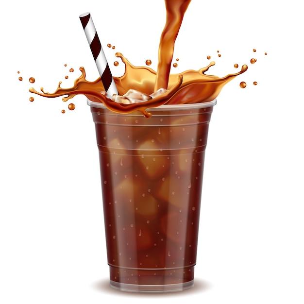 Tasse à café glacée Vecteur Premium