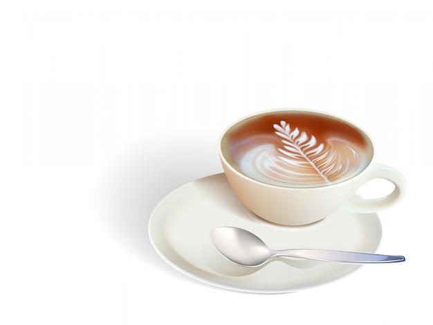 Tasse de café et de graines sur fond blanc Vecteur Premium
