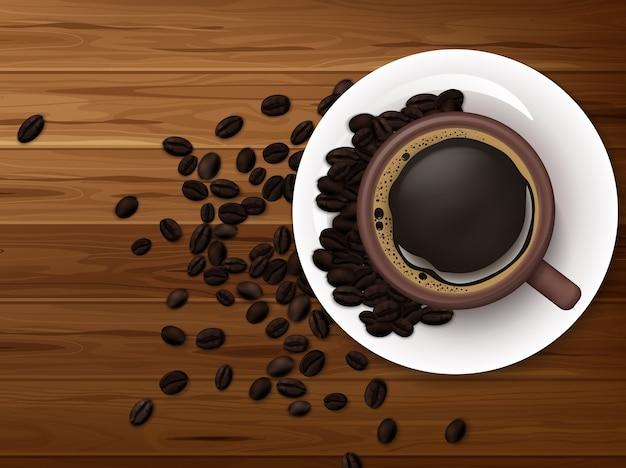 Tasse de café avec grains de café sur fond en bois Vecteur Premium