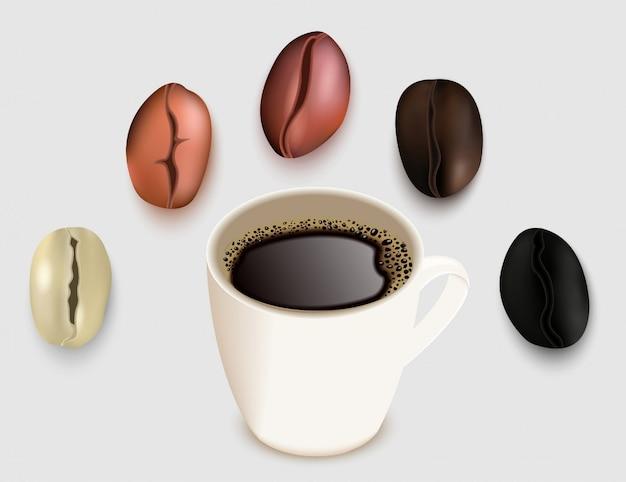 Tasse de café et grains de café vector illustration réaliste 3d. grain de café vert non torréfié et torréfié. brun très clair, brun pâle moyen, degrés de rôti brun foncé et brun foncé. Vecteur Premium