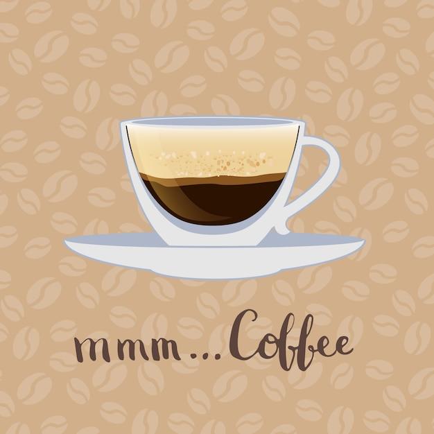Tasse à Café Avec Inscription Sur Les Grains De Café Vecteur Premium