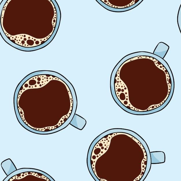 Tasse de café. modèle sans couture dessin animé mignon dessiné à la main Vecteur Premium