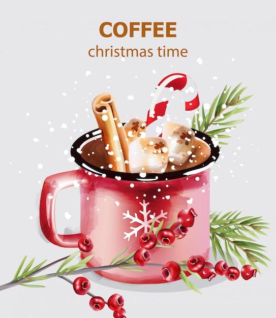 Tasse à café de noël avec des bonbons et des décorations de vacances Vecteur Premium