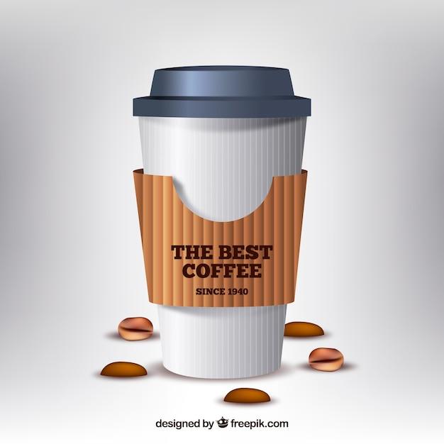 Tasse à café en papier réaliste Vecteur gratuit
