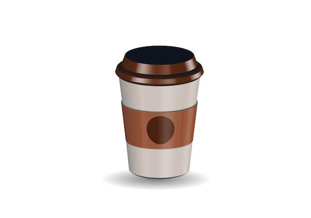 Tasse à café en papier vierge réaliste Vecteur Premium