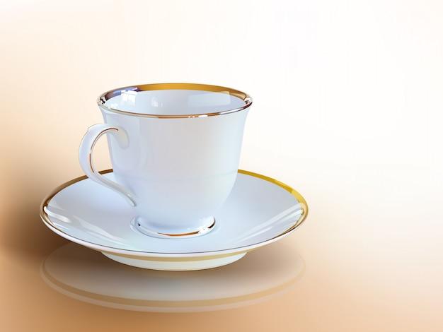 Tasse à café réaliste d'art vectoriel. Vecteur Premium