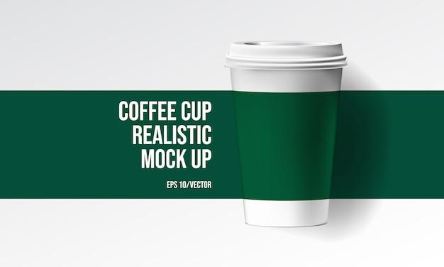 Tasse à café réaliste maquette Vecteur Premium