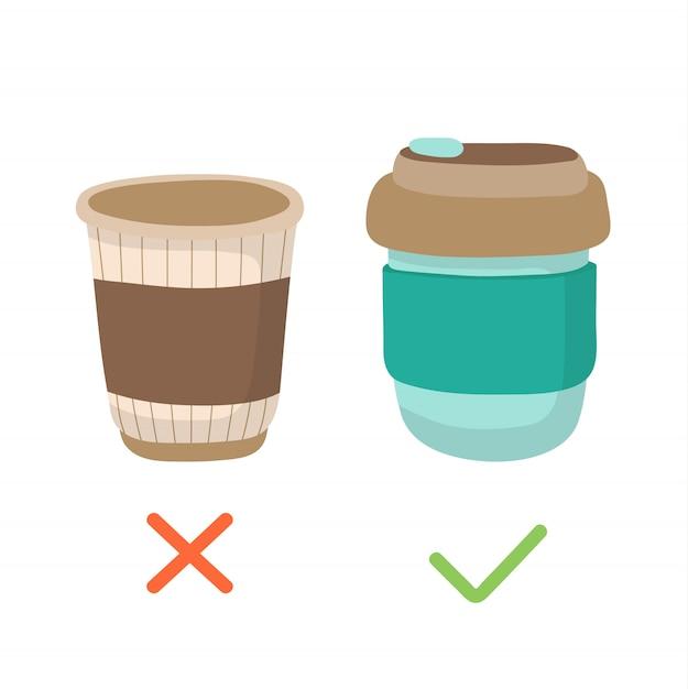 Tasse à café réutilisable et gobelet jetable - illustration du concept zéro déchet. Vecteur Premium