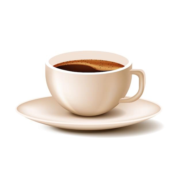Tasse à café avec soucoupe sur fond blanc Vecteur Premium