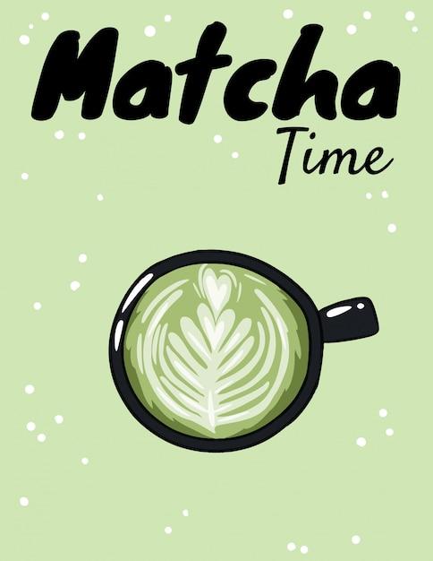 Tasse De Café Vert à L'heure Du Matcha. Vecteur Premium