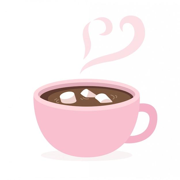 Tasse de chocolat chaud Vecteur Premium