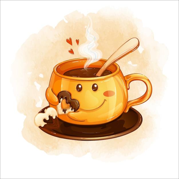 Une Tasse Orange Souriante Avec Une Boisson Chaude Contient Un Cookie En Forme De Coeur Avec Du Chocolat. Vecteur Premium