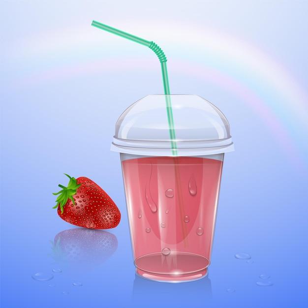 Tasse En Plastique Réaliste Avec Du Jus De Fraise, Illustration Vecteur Premium