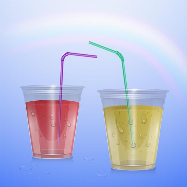 Tasse En Plastique Réaliste Avec Limonade Et Jus De Fraise, Illustration Vecteur Premium