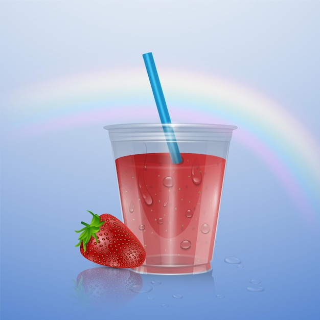 Tasse En Plastique Réaliste Avec Smoothie Aux Fraises, Illustration Vecteur Premium