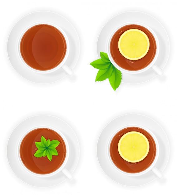Tasse en porcelaine de thé au citron et menthe illustration vectorielle vue de dessus Vecteur Premium