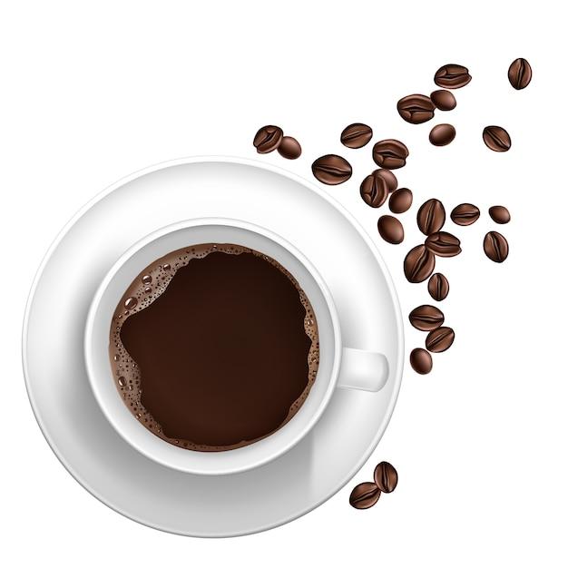 Tasse réaliste de café 3d, haricots Vecteur gratuit