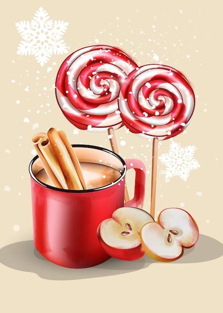 Tasse rouge avec du chocolat chaud et des ornements de noël Vecteur Premium