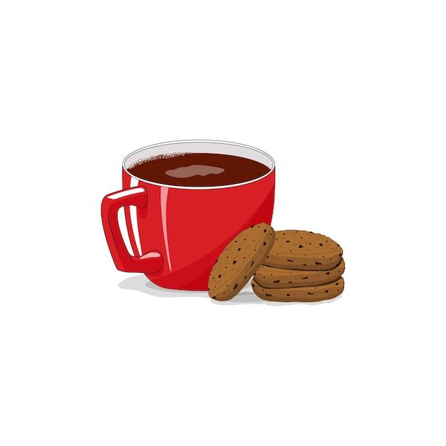 Tasse Rouge Sur Fond Blanc Isolé. Biscuits. Café, Cappuccino, Latte. Bonjour. Vecteur Premium