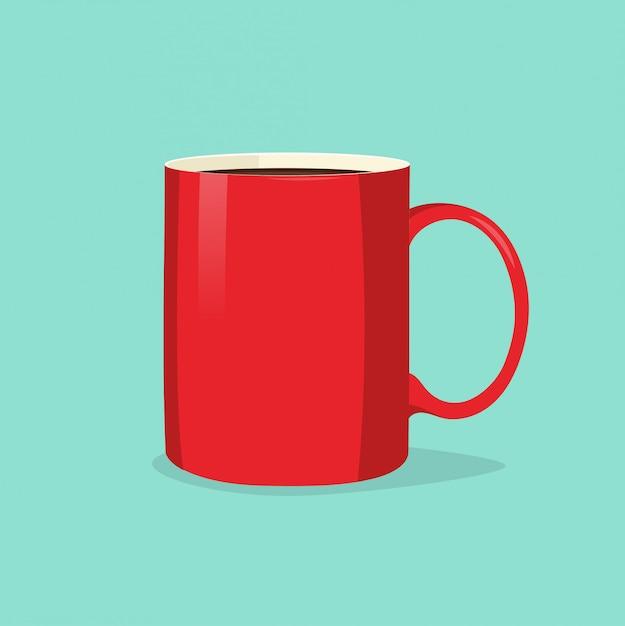 Tasse Rouge Ou Tasse De Café Ou De Thé Isolé Sur Le Fond Bleu Vecteur Premium