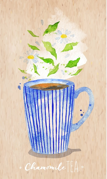 Tasse à thé aquarelle avec thé à la camomille, dessin sur fond de papier kraft Vecteur Premium