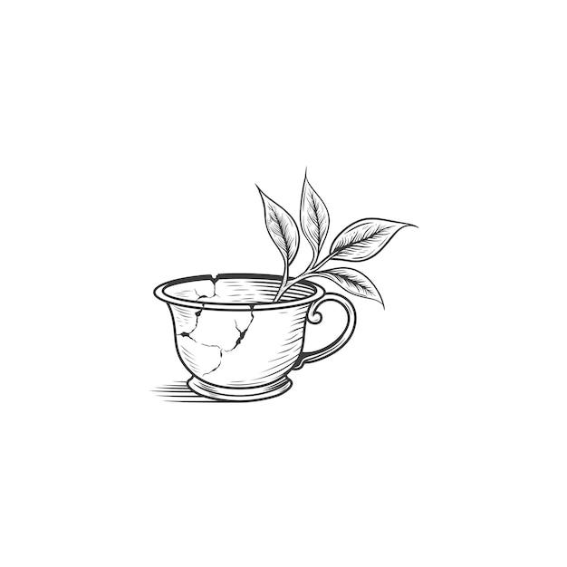 Tasse à thé cassé dessin illustration isolé Vecteur Premium