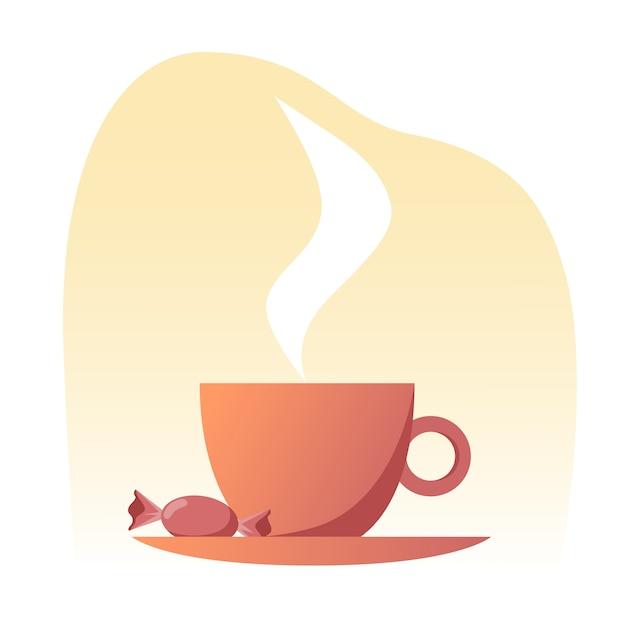 Une Tasse De Thé Chaud Sur Une Soucoupe Avec Un Bonbon Sucré Aux Couleurs Chaudes. Vecteur Premium