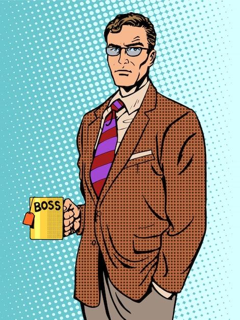 Tasse à thé patron sérieux homme d'affaires Vecteur Premium