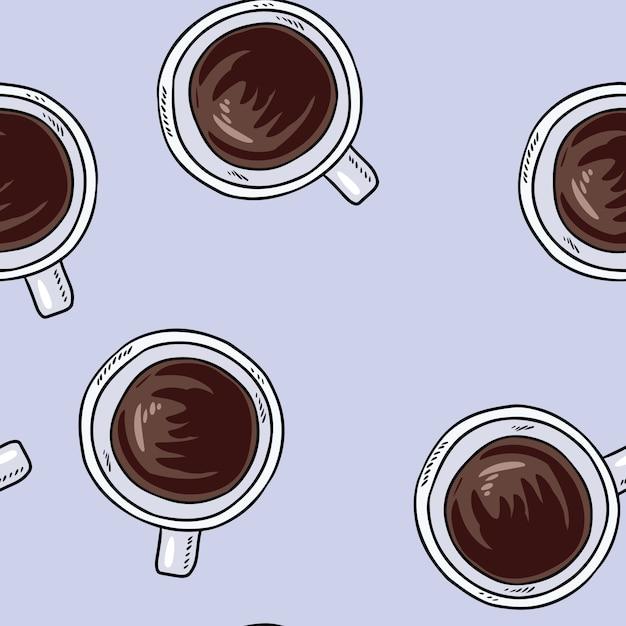 Tasses de café. modèle sans couture dessin animé mignon dessinés à la main. Vecteur Premium