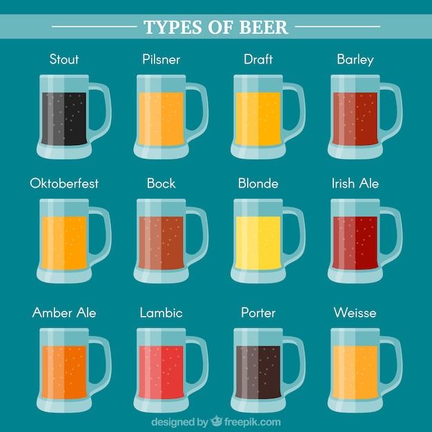 Tasses avec différents types de bières et leurs noms Vecteur gratuit