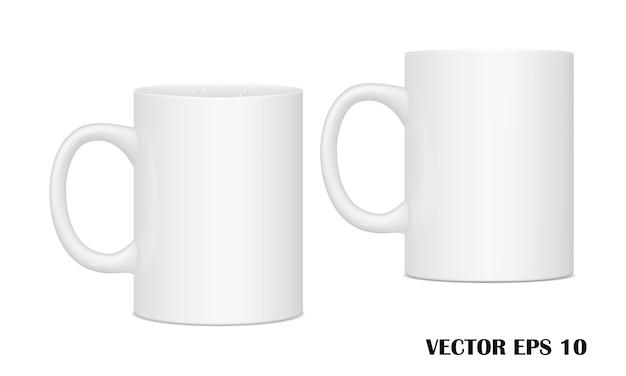 Des tasses pour des boissons de différents points de vue. Vecteur Premium