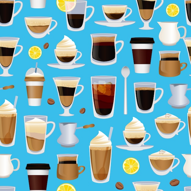 Tasses Remplies De Café Ou De Modèle De Boisson Différent Ou Vecteur Premium
