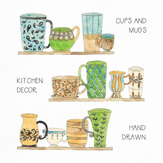 Tasses à Thé Et à La Collection Aquarelle Aquarelle Vecteur gratuit