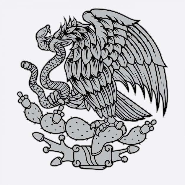 Tatouage aigle et serpent mexicain Vecteur Premium