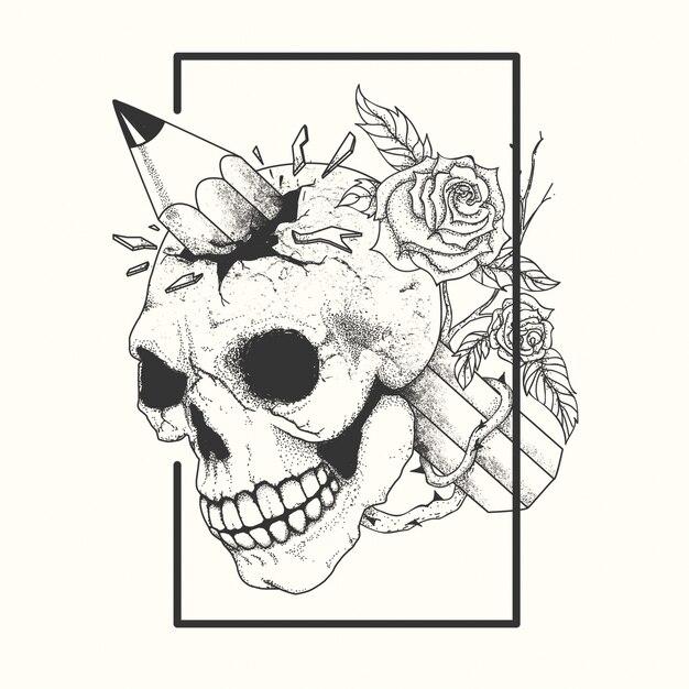 Tatouage de crâne noir et blanc Vecteur Premium