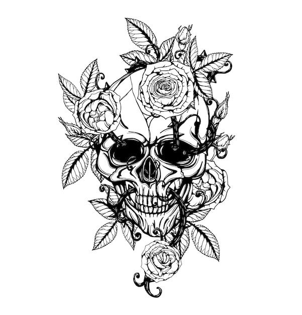 Tatouage de crâne avec roses centifolia par dessin à la main. Vecteur Premium