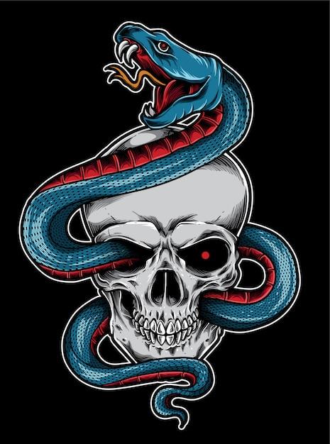 Tatouage de crâne de serpent Vecteur Premium
