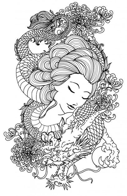 Tatouage femme et main de dragon dessin esquisse noir et blanc Vecteur Premium