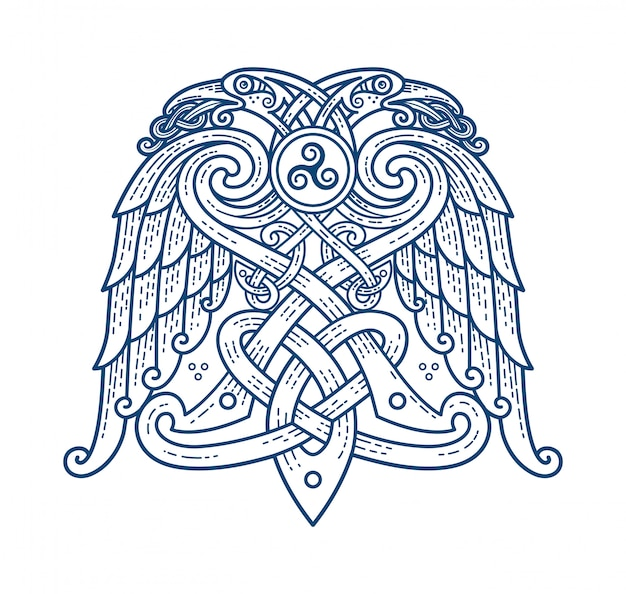 Tatouage scandinave du symbole de dieu odin Vecteur Premium